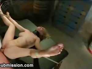 Spread tied up blonde anal fucked