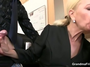Mature blonde gets fucked by her co-workers