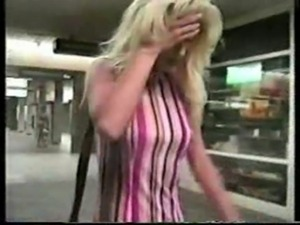 blonde girl drunk in shop,guy comes and fingers pussy then fucks her voyeuri...