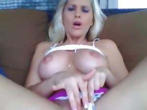 Home Alone Busty Blonde Masturbates