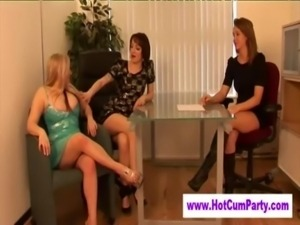 Group of cfnm femdoms tug and suck free