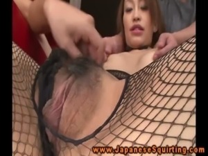 Fishnet wearing babe moist clit vibrated free
