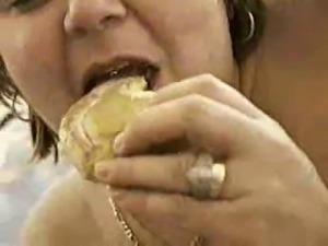 BIG Fat BBW Wife eating fresh made cum doughnut