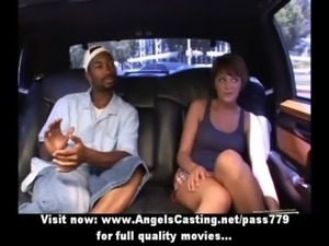 Cute brunette hitchhiker flashing tits and ass for black guy in car free