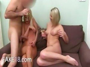 Fake agent bang with two blonde girls