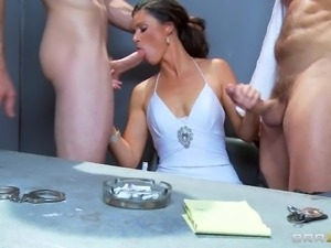 hot interrogation threesome with a hot pornstar!
