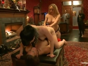 blonde mistress fucking and dominating two brunettes