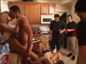 College students' kitchen group sex