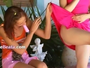 Two danish lesbian girls dildoing