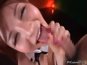 Sexy asian babe gets horny sucking