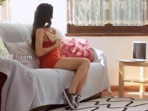 Unique vagina dildoing of wow schoolmate