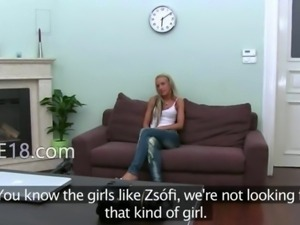 Horny blond girl deep fucking on couch