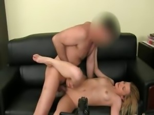 Fake agent fucking with shy blond babe
