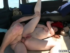 redhead taking it deep into her tight ass