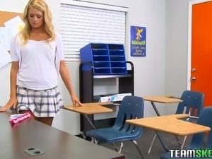 blonde schoolgirl seducing her teacher to get fucked
