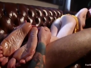 long sexy legs milf rubbing her man's cock
