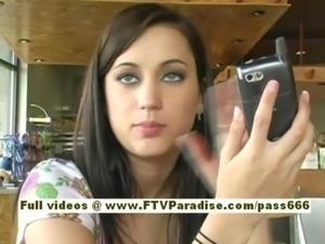 Larysa amateur redhead babe typing on a phone free