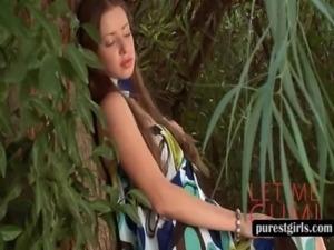 Redhead teen touching herself outdoor free