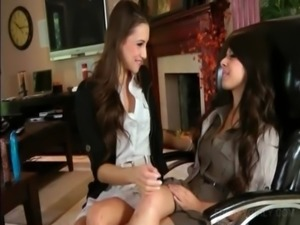 Lesbo duo shares sex toys and kisses sensually free