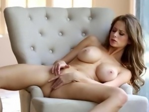 sweet brunette have smart solo action