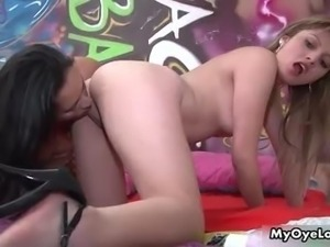 Nasty brunette lesbians go crazy licking part6