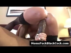 Horny blonde old MILF goes nasty ridding big black cock free