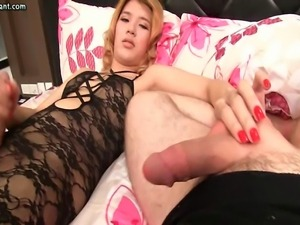 Shemale rubbing herself and jerking a cock