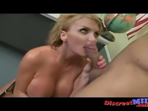Blonde MILF with big boobs suck and get fucked hard by young mans fat cock
