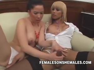 Nasty Shemale Boss Sheina Fucking Her Horny Secretary