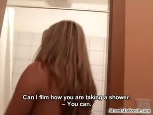 Nasty blonde slut goes crazy sucking