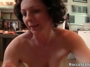Nasty brunette MILF slut with hairy