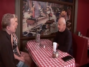 Husband gets dude to fuck his sexy blonde wife in restaurant