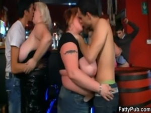 Three fat chicks have fun in the bar free