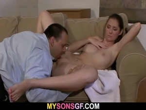He leaves and she jumps on his dad's cock