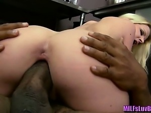 Blonde MILF Sucking and Fucking a Big Black One