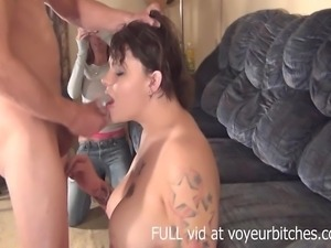 two girls watch a guy jerk off when one of starts sucking on his cock the...