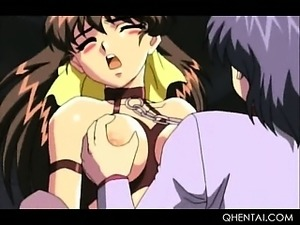 Hentai slave in chains pussy shaved with a dangerous razor
