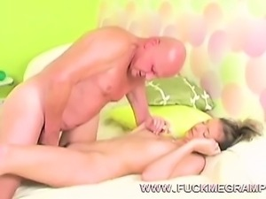 Fat old man fucks teen cutie