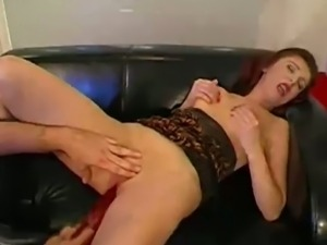 Redhead german slut pounded by two hard cocks