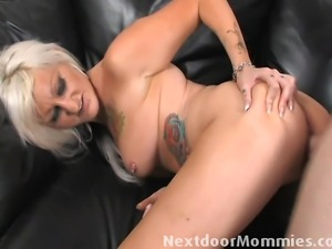 Blond Tattooed old slut takes a cock hard in the ass and get cummed all over it