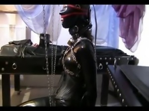 Horny slave girl in a solo action