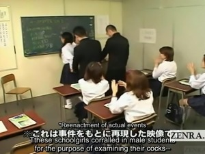 Subtitled CFNM Japan schoolgirls penis ejaculation club