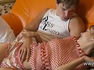 Petite teenager gagging huge cock