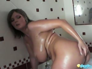 Volumptous Milf Jennifer washing her mega bigtits