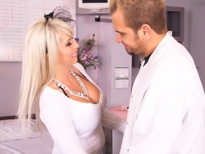 Heavy chested blonde Brooke Haven on her knees