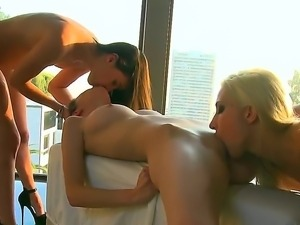 Arousing babes having sweet and naughty threesome lesbian softcore together