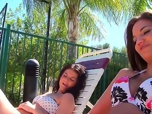 Aria Austin,Aubry Sky and Naomi West are enjoying a great day by the pool