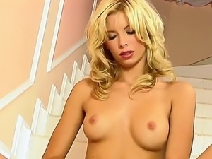 Adorable blonde Marcy with steaming hot body gets naughty and fingets her...