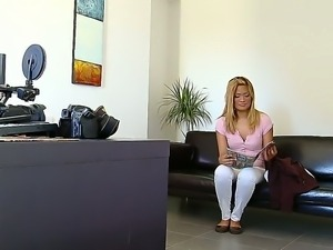 Mature blond hottie came to the kinky interview looking for job and was fucked