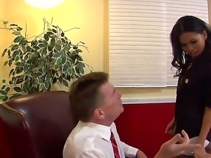 Dazzling Asian vixen Cindy Starfall seducing her boss Kyle Stone